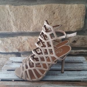 Candies Light Nude Strappy Stilletto Heels